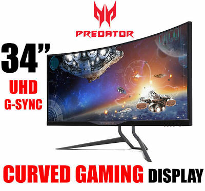 "Acer 34"" Predator X34 UW-QHD Curved IPS Gaming Monitor 3440x1440 G-Sync DP SPK"