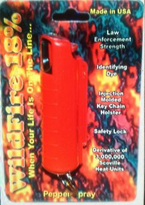 HOTTEST! Wildfire 1/2 oz 18% Pepper Spray Keychain POLICE Strength RED COLOR NEW
