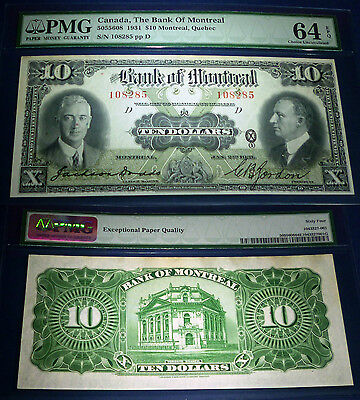 1931 Bank Of Montreal $10 Large Canadian Chartered banknote,PMG 64 ,UNCIRCULATED