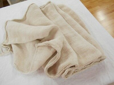 20x61 Vtg Antique NO STRIPE EUROPEAN HEMP Cream LINEN Fabric FEED SACK GRAIN BAG