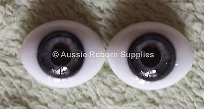Reborn Baby Oval Glass Eyes 16mm Grey Blue Doll Making Supplies