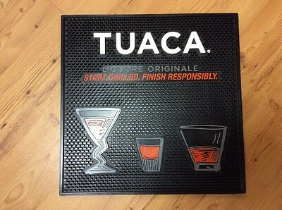 "Tuaca Liqueur Bar Mat 17""x17"" Change Dish Black Orange New Rubber Martini Shot"