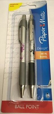 Pack of 2 Paper Mate Design Metal Barrel  1.0mm Ball Point Pens (Black)