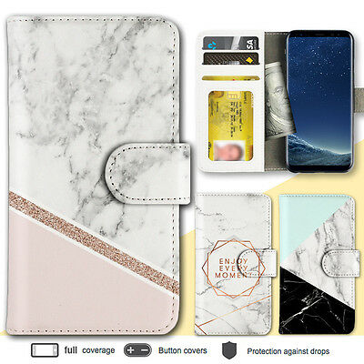 Galaxy Note 8 S8 Case Marble Shape Stone Print Wallet Leather Cover for Samsung