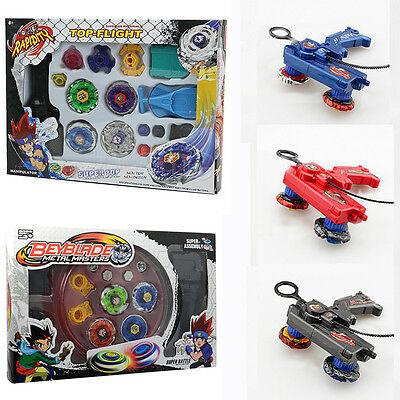 4D Beyblade Metal Masters Fusion Top Fight Rare Rotate Grip Launcher Set Collect
