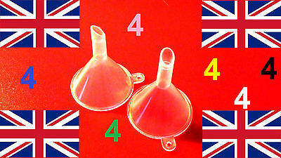 4 miniature FUNNEL mini small tiny plastic hobby pouring UK atomizer little UK