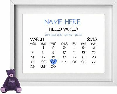 BABY BOY NAME | Personalised Picture | New Baby | Gift | FREE POST | (NP160)