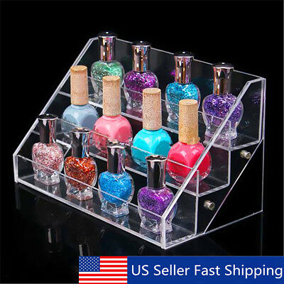 3 Tiers Acrylic Nail Polish Display Stand Makeup Storage Rack Cosmetic Organizer