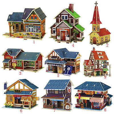 Wooden House Models Construction 3D Puzzle Craft DIY Children Fun Building Toy