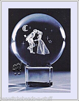 The Lovers 50mm Laser Etched Crystal Ball - Wedding Aniversary gift