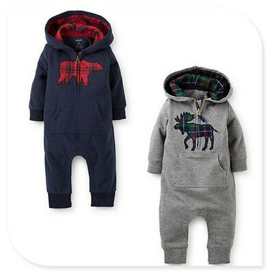 Kids Baby Boy Warm Infant Romper Jumpsuit Bodysuit Hooded Clothes Outfit