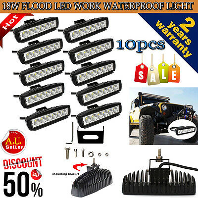 10Pcs 18W 6INCH LED WORK LIGHT BAR OFFROAD FLOOD DRIVING TRUCK UTE UTV VAN  LAMP