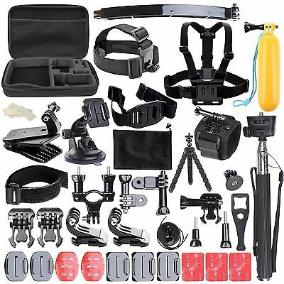 Accessories Set Kit 50 in 1 for Gopro Hero 4 3+ Session Monopod Head Chest Strap