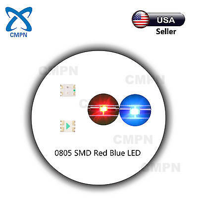 100Pcs 0805 2012 SMD SMT LED Chip Bi-Color Red/Blue Light Lamp Diodes Beads Buld