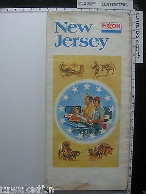 Vintage 1976 Exxon Tiger Tips New Jersey Street Road Map