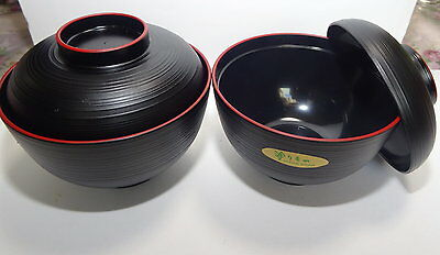 Set Of 2Japanese Miso Soup Bowls Owan Made In Japan Synthetic Lacquer Black