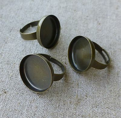 Antique Bronze Ring Component Smooth Setting Base - 5 pcs