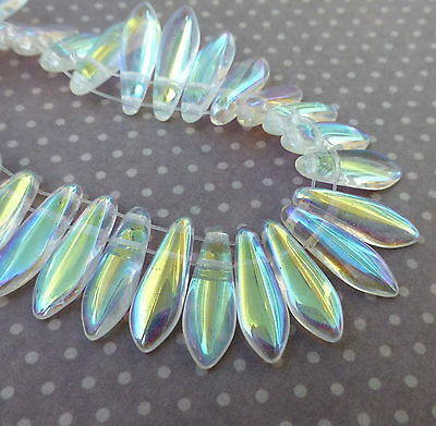 Strand of 50 glass beads- 2 hole Dagger Beads Crystal AB DGR2-516-X00030