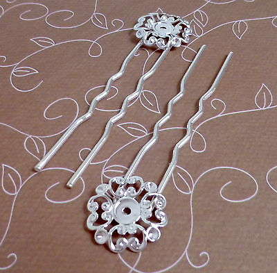 10 pcs - Silver tone Hair Clip, Hair pin, hair fork with filigree