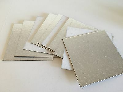 "5 x 8"" (20cm  INCH THIN SQUARE SILVER Cut edge CAKE Boards Cards support"