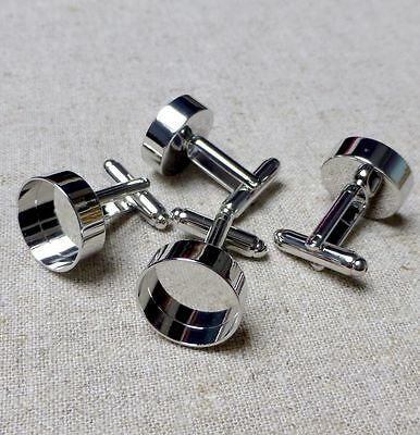 Quality cufflinks, brass, platinum plated, resin base, setting– 2 pcs (one pair)