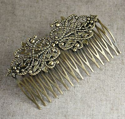 2 pcs  Antique Bronze Hair Comb with Filigree