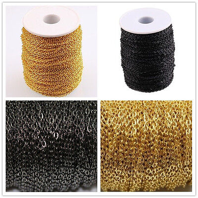 Lots  3M/10M Black / Gold Cable Open Link Iron Metal Chain JEWELRY DIY MAKINGS