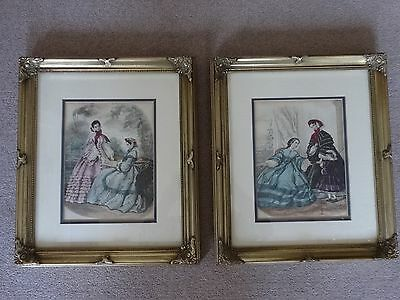 Two Victorian Beautifully Framed Antique Prints Of Paris Fashion Circa 1870