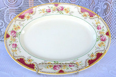 Large Woods Ivory Ware Roses & Floral Yellow/Burgundy PLATTER (480)