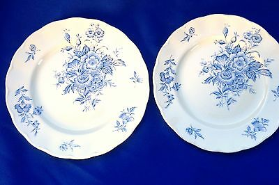 "8 Luncheon Plates - Grindley ""Eileen"" Blue Flowers (397)"