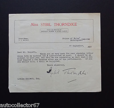 Genuine SYBIL THORNDIKE signed AUTOGRAPH LETTER actress 1923
