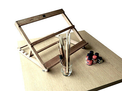 Vintage Rowney Desktop Easel with Chinese/Japanese Calligraphy Brush and Ink Set