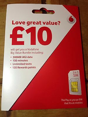 Vodafone Pay As You Go Pre-Loaded 500mins, 4gb data & unl texts UK Sim Card