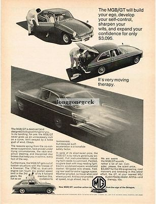 1966 MG MGB GT Very Moving Therapy Vtg Print Ad