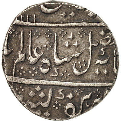 [#460014] INDIA-FRENCH, Shah Alam II, Rupee, 1806, Arcot, Silver, KM:15