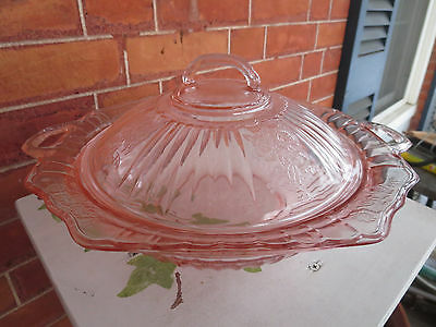 Pink Depression Glass Mayfair Open Rose Covered Vegetable Bowl Hocking Glass Co