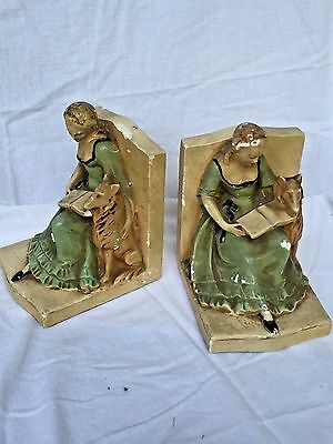 Vintage Ceramic Girl with Dog Bookends