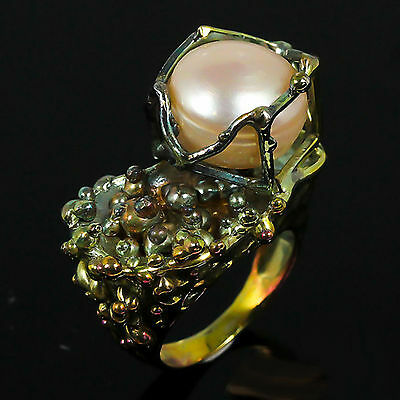 Handmade Ring Natural Pearl .925 Sterling Silver Ring Size 7
