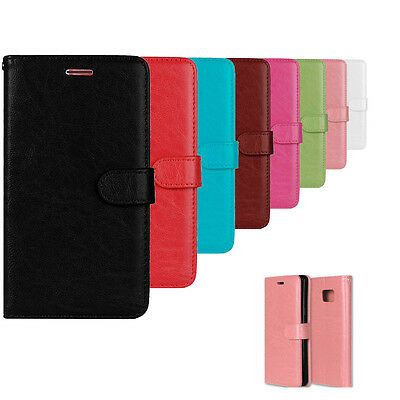 Luxury Flip Wallet Stand Card Slot Wax PU Leather Cover Case For Sony Lenovo LG