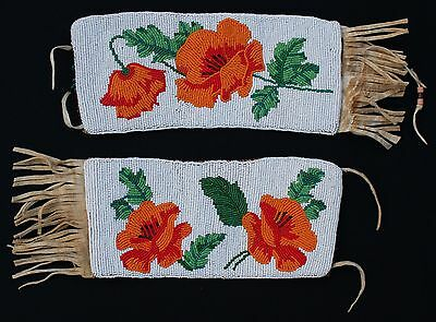 Antique Plateau Indian Seed Beaded Leather Pictorial Colorful Poppies Armbands