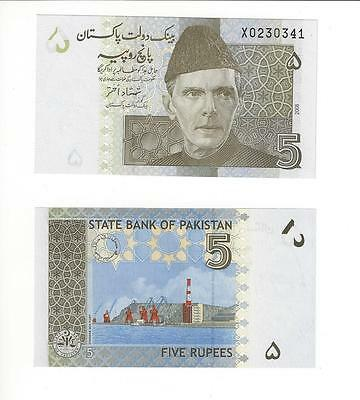 """Pakistan 5 Rupees,  2008   """"x"""" Replacement Note    Nice Unc"""
