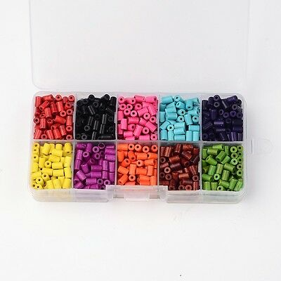 1 Box Ten Colors Column Synthetic Turquoise Beads Dyed Mixed Color 6x4mm