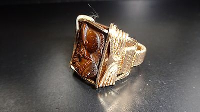 Vintage Art Deco Mens 18K Gold Filled Tigers Eye Cameo Ring Roman Greek Spartan