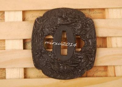 RETRO DRAGON plate handguard IRON TSUBA FOR JAPANESE KATANA WAKIZASHI TANTO