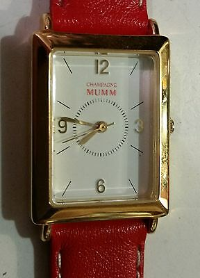 Mumm Champagne Watch NOS- Made in France, Movement France 1 jewel Quartz Last 1