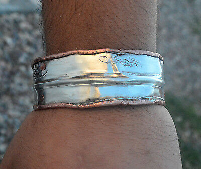 Distressed Industrial Sterling Silver 925 Copper Cuff Bracelet Mens Bangle Mans