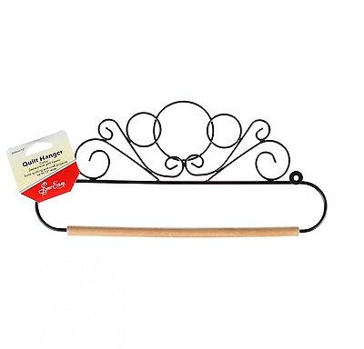 SCROLL DESIGN QUILT HANGER HOLDER, 12 Inch Black With Dowel Rod From Tacony NEW