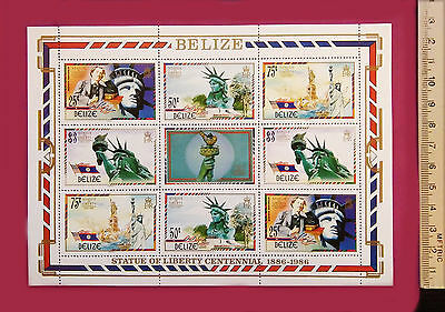 Belize 1986 New York Statue of Liberty 100th Ann Stamps 9value perf Sheetlet MNH