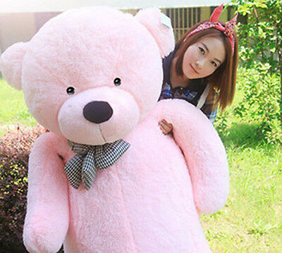 """Hot GIANT CUTE PINK PLUSH TEDDY BEAR HUGE SOFT 100% COTTON TOY 31"""" NEW SWEET"""