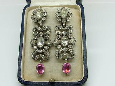 Antique Estate Stunning Original Georgian Foiled Paste Silver Earrings